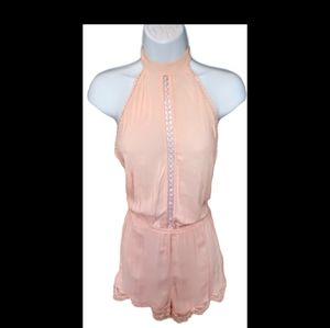 Forever 21 pink/peach backless lace romper